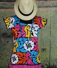 Hand Embroidered Blouse Huipil Jalapa Mexico Hippie Cowgirl Fiesta Boho Peasant