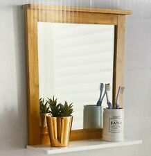 Maine Bathroom bamboo Frame Mirror Wall Mounted with Cosmetics Shelf