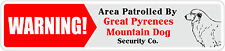 *Aluminum* Warning Area Patrolled By Great Pyrenees Mountain Dog 4x18 Metal Sign
