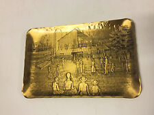 Wendell August Forge Solid Bronze Tray w/ Men & Women Working / Building House