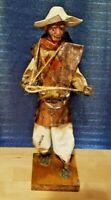 Vintage Mexican Folk Art Paper Mache Man -Exquisite Detail -Wood Base- Near Mint