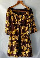 Laura Ashley Dress vintage retro silk size 8 retro hip indie yellow brown
