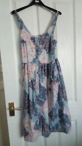 Size 8 100% Indian Cotton Flowery strappy Dress By Tu
