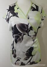 MINT VELVET Grey, Green & White Floral Wrap Top - Size 12
