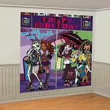 Kids Monster High TV Wall Scene Setter Birthday Halloween Party Decoration Kit