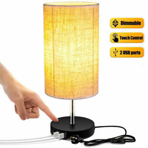 Dimmer Touch Table Lamp with 2 USB Charging Ports Bedside Office Light UK Plug