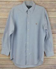 RALPH LAUREN Blue Yarmouth Cotton Oxford Button Down Dress Shirt 16-33