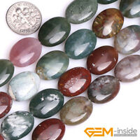 "Natural Gemstone Indian Agate Oval Loose Beads For Jewelry Making Strand 15"" YB"
