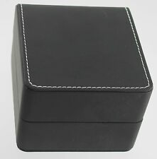 Square Watch Box for Display Travel or Storage With Pillow Stitched Black