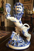RARE! Signed French Faience Delft Style Ceramic Lion Candlestick! Circa 1921
