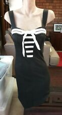 BETSEY JOHNSON Cute Fitted Black Sailor Look Dress With Bow Size 2.