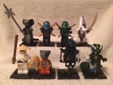 SET OF 8 NINJAGO MINI FIGURES-BRAND NEW ASSEMBLED WITH ACCESSORIES & STANDS (S3)
