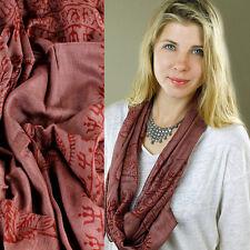 Maroon OM Krishna Scarf Hindu Buddhist Wrap Mini Sarong Sheer Made In India