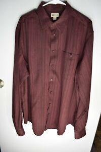 Men's Dress Shirt Haggar XLT Long sleeve Burgundy w/ black pin stripes