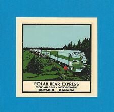 """Vintage Original 1964 Souvenir """"Polar Bear Express"""" Train Ontario Decal Art"""