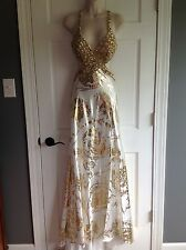 Mac Duggal White Gold Beaded Sequin Pageant Prom Formal Dress Size 0