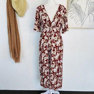 PAPER HEART | Size 10 | Red Floral Playsuit Dress V- Neck Boho Spring Viscose