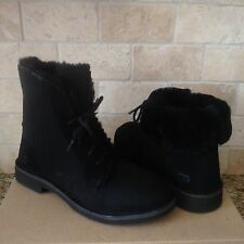UGG Quincy Black Suede Sheepskin Lace up Ankle Boots Shoes US 7.5 Womens