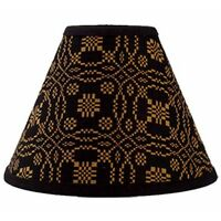 """New Primitive Colonial Black Mustard Coverlet LOVER'S KNOT LAMP SHADE Clip 10"""""""