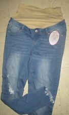 Planet Motherhood Womens Blue Skinny DISTRESSED FRINGE Maternity Jeans Sz L NWT