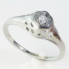 Vintage Deco Diamond 18K White Gold Filigree Estate Wedding Engagement Ring