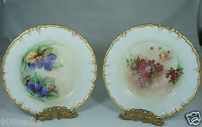 ANTIQUE PLATE PAIR,GOLD RIMS,CURRANT/BLACKBERRY HAND PAINTED BERRIES SIGNED