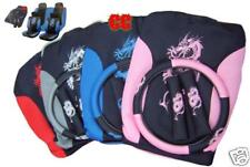 13pc Car seat cover set + FREE mats steering wheel pads Dragon race gift BLUE