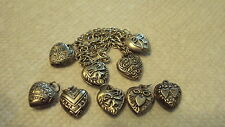 """Lot of 9 Vintage Silver 925 PUFFY HEART Bracelet Charms Sterling"""""""