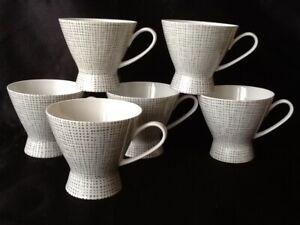Rosenthal Porzellan  Form 2000 Seidenbast Latham Loewy 6 Kaffeetassen Obertassen