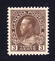 Canada Sc #108c (1923) 3c Brown Admiral Dry Printing VF NH