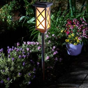 Solar Powered Flaming Torch LED Stake Light Outdoor Decor Flame Effect Patio