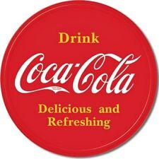 """Coke Button Logo 12"""" Round Vintage Style Metal Tin Sign Coca-Cola Retro Decor"""
