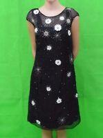 Temperley London Silk Floral Sequin Beaded Black Sample Dress Size UK 8 .... #4