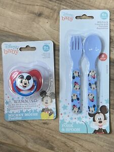 Disney Baby Mickey Mouse Fork and Spoon Set and Bonus Pacifier with Cover