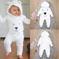 Winter Infant Toddler Baby Boy Girls Hooded Flannel Romper Jumpsuit Warm Clothes