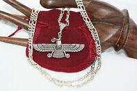 """Persian Farvahar 925 Silver Imperial Coat of Arm Heavy Necklace 24"""" Figaro 4MM"""
