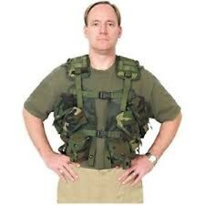US MILITARY Enhanced Tactical Load Bearing Vest Woodland Camo Execelle Condition