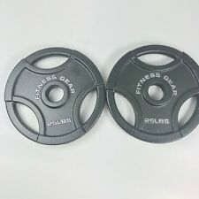 """Fitness Gear 2 x 25 lb New Olympic 2"""" Weight Plates 50 Pounds LBS Total Iron"""