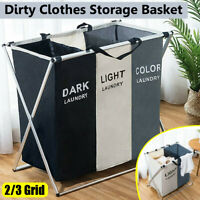 2/3 Grid Dirty Clothes Laundry Basket Washing Hamper Bag Folding Toy Storage