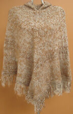 NEW, EXCLUSIVE 100% ALPACA WOOL HAND KNITTED PONCHO, CLOAK, CAPE HOODED ANDEAN a
