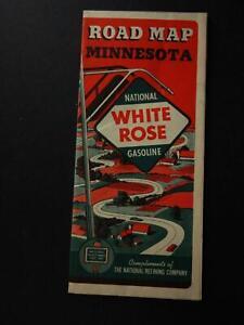 1940 WHITE ROSE GASOLINE TRAVEL MAP of MINNESOTA~ (NEW OLD STOCK)~