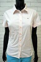 Camicia Donna LACOSTE Taglia 44 Maglia Polo Manica Corta Shirt Woman Damenhemd