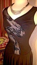 CMH Little Black Sleeveless Asymmetrical SALSA DANCE Dress  Sz M Medium D051