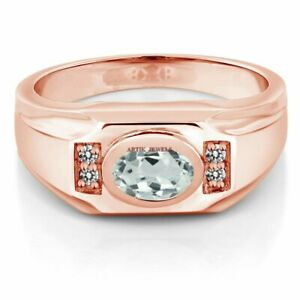Natural Aquamarine Gemstone with Rose Gold Plated 925 Sterling Silver Ring AJ201