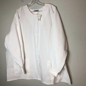 Landau Women's Warm-up Scrub Jacket Snap Front Style 7525 Size 3XL White WWP