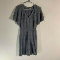 Red Valentino Wool Cashmere Ribbed Knit Dress Gray XS