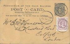 COOK ISLANDS 1894 1d postcard uprated 1½d to UK - Interesting message.....91930
