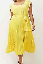 Lane Bryant lovely Primrose yellow pleated  textured midi dress size 18/20