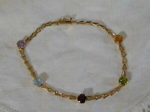 14k Yellow Gold Chain Bracelet with Amethyst, Garnet, Topaz, Citrine, Peridot