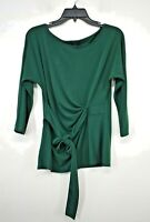 Ann Taylor Women Green Long Sleeve Ruched Tie-Up Scoop Neck Casual Blouse MP
